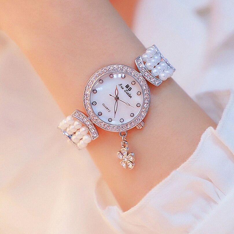 Relógios para Mulheres Relógios de Quartzo Relógio de Pulso de Luxo das Senhoras Relógio Diamante Quatro Folhas Trevo Sorte Grama Pulseira Feminino