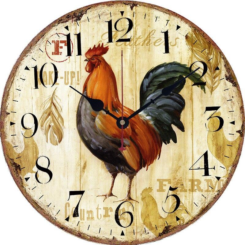Relógio de parede retro europeia galo variedade de relógio de parede sala de estar mudo relógio de parede quarto de decoração para casa acessórios