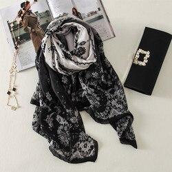2019 china marca de luxo verão e outono moda feminina flores grande xale seda cachecóis foulard praia envoltórios hijab