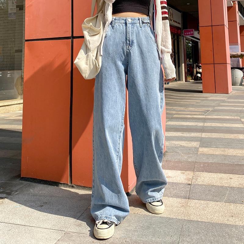 2021 модные синие прямые джинсы в стиле Харадзюку, повседневные широкие брюки с высокой талией, прямые джинсовые брюки, уличная одежда