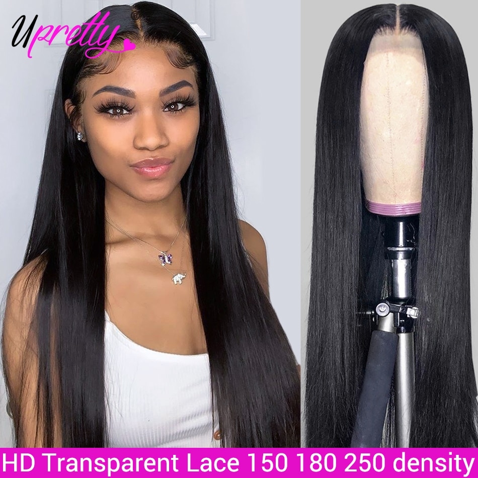 Peluca de encaje Upretty, recta, HD, transparente, peluca Fronal de encaje Pre desplumado, peluca frontal de cabello humano brasileño de densidad 150 180 250
