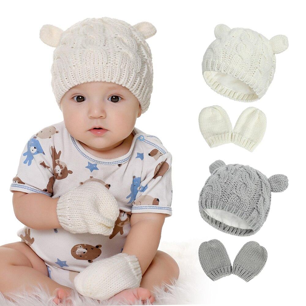 Детская шапка и рукавицы для мальчиков и девочек, детская шапка и перчатки, мягкие вязаные рукавицы для новорожденных, шапка для малыша, зим...
