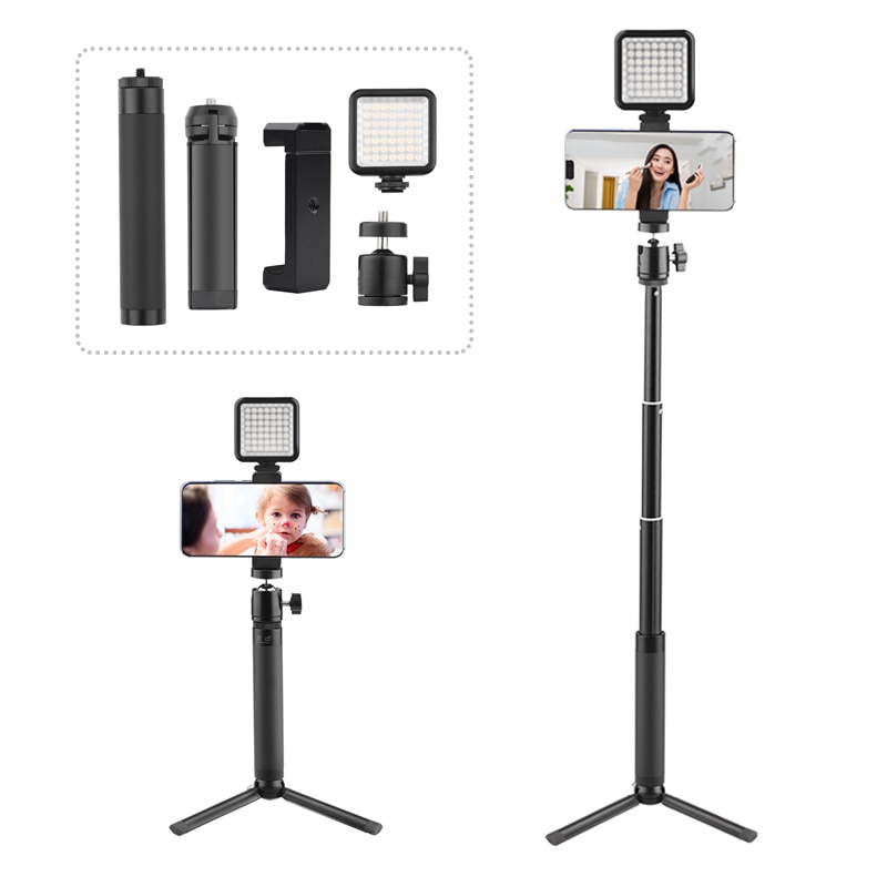 for Smartphone Live Video LED Fill Light Tripod Stand with Phone Clip Holder Extension Rod Selfie Stick for Phone Live Equipment