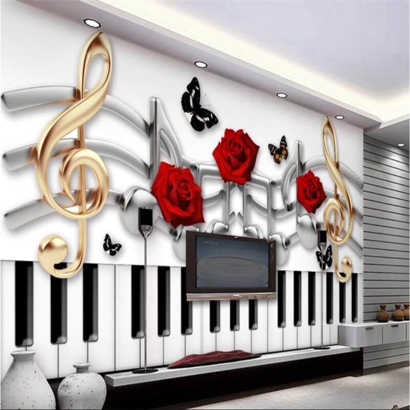 BEIBEHANG Custom wallpaper murals any size photo 3D guitar rock brick wall KTV background music fashion trend bar wallpaper