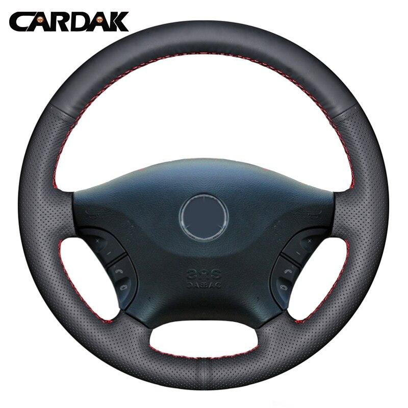 CARDAK mano DIY-negro de punto de cuero Artificial protector para volante de coche para Mercedes Benz Viano W639 2006-2011 Vito 2010-2015