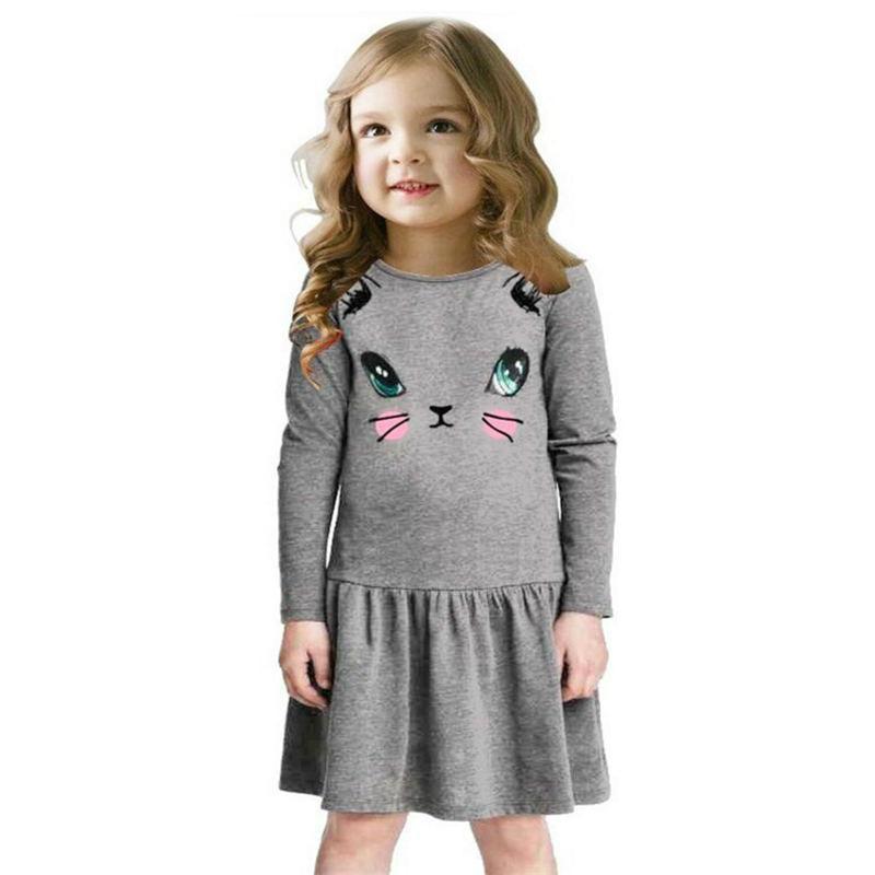 Vestido de princesa para niñas vestidos de fiesta de algodón de manga larga de dibujos animados para niños