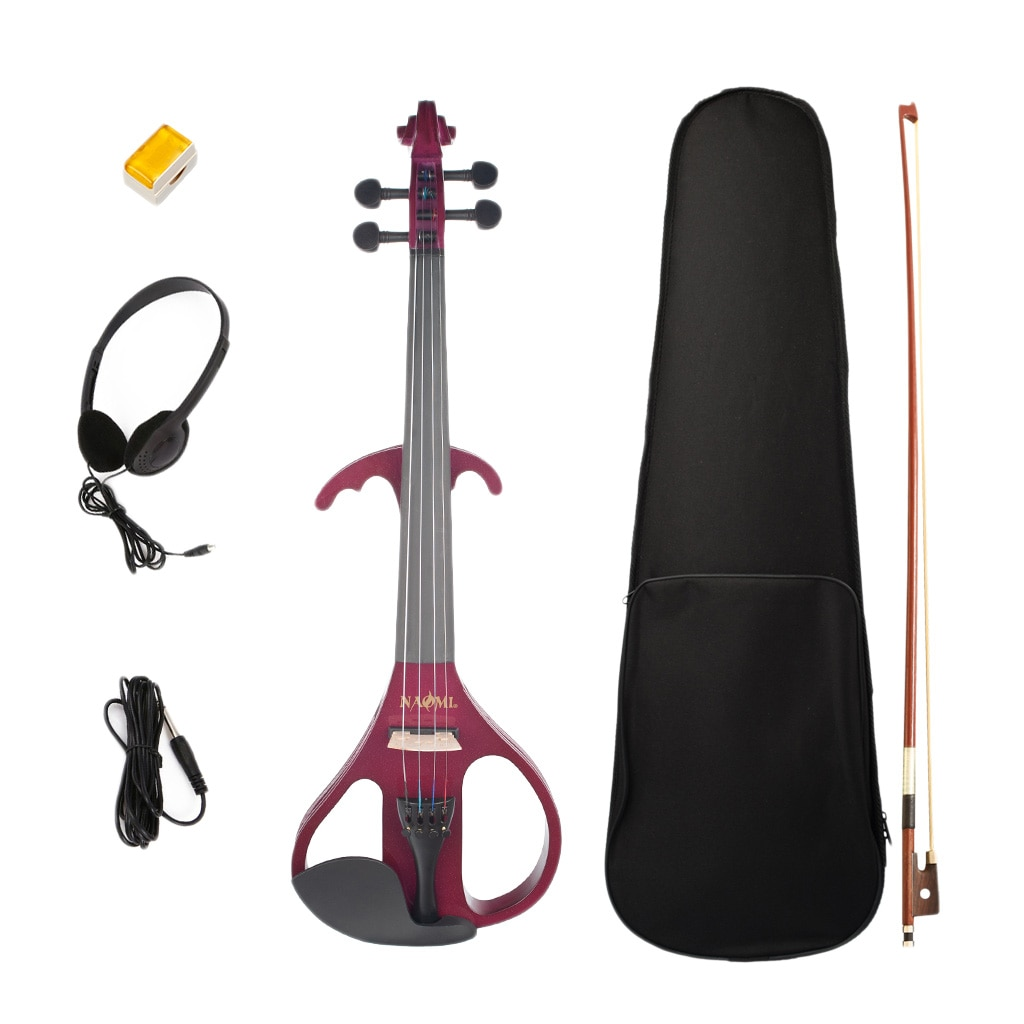Kit de violín silencioso eléctrico de 4/4 tamaños con soporte de hombro, auriculares colofonia, cuerda, instrumento Musical para amantes de la música