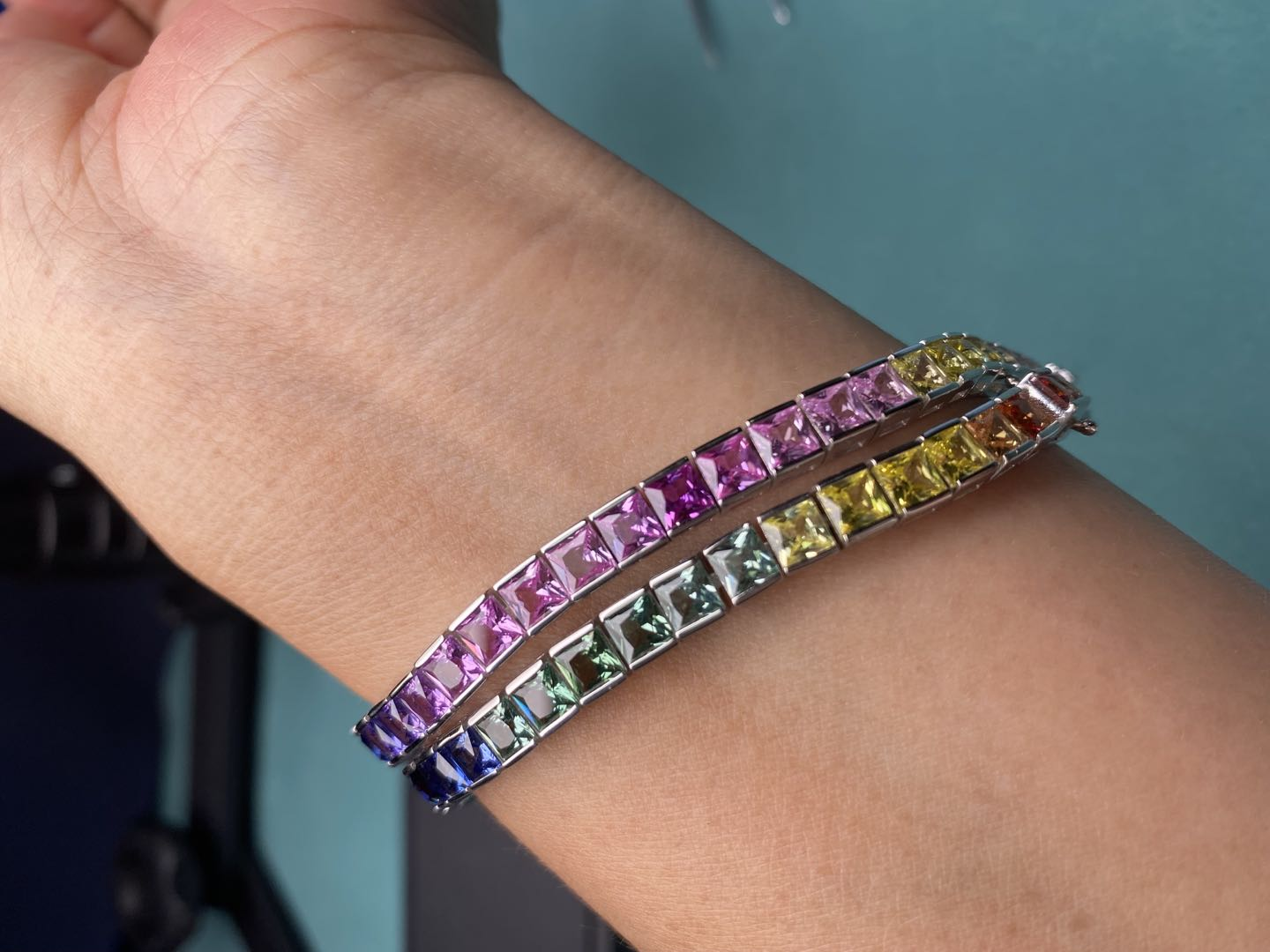 Promo Pirmiana Hot Sale 4x4mm Square Rainbow Sapphire Bracelet Created Gemstone S925 Silver Fashion Jewelry for Christmas Party Gifts
