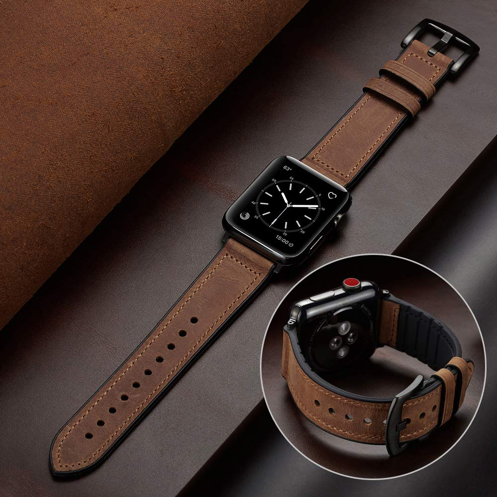 leather loop strap for apple watch 5 band 44mm 40mm iwatch band 42mm 38mm bracelet genuine leather watchband series 6 5 4 3 2 se Silicone+Leather strap for  watch band 44mm 40mm 42mm 38mm Genuine Leather watchband bracelet iWatch series 5 4 3 SE 6 band