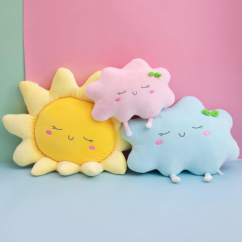 Almohada de felpa con bonito sol y nube, juguete con diseño de nube para el coche, almohada decorativa para el hogar, juguetes para niños