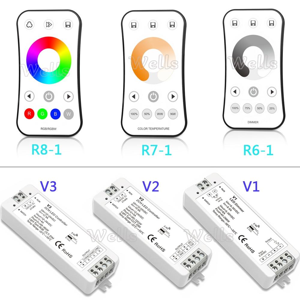 1CH 2CH 3CH Controlador led 2,4G RF inalámbrico LED Control remoto atenuador para un solo Color /Color temperatura/RGB led tira