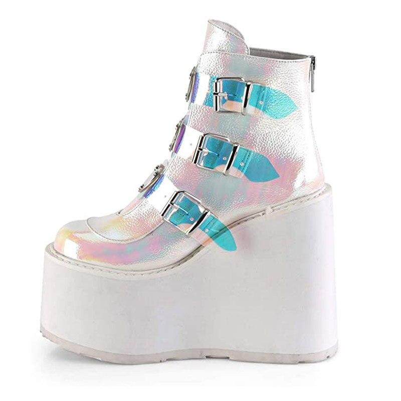 2020 inverno fivela ankel botas fundo grosso tornozelo botas cunhas sapatos moda rendas até fivela tornozelo botas botas mujer