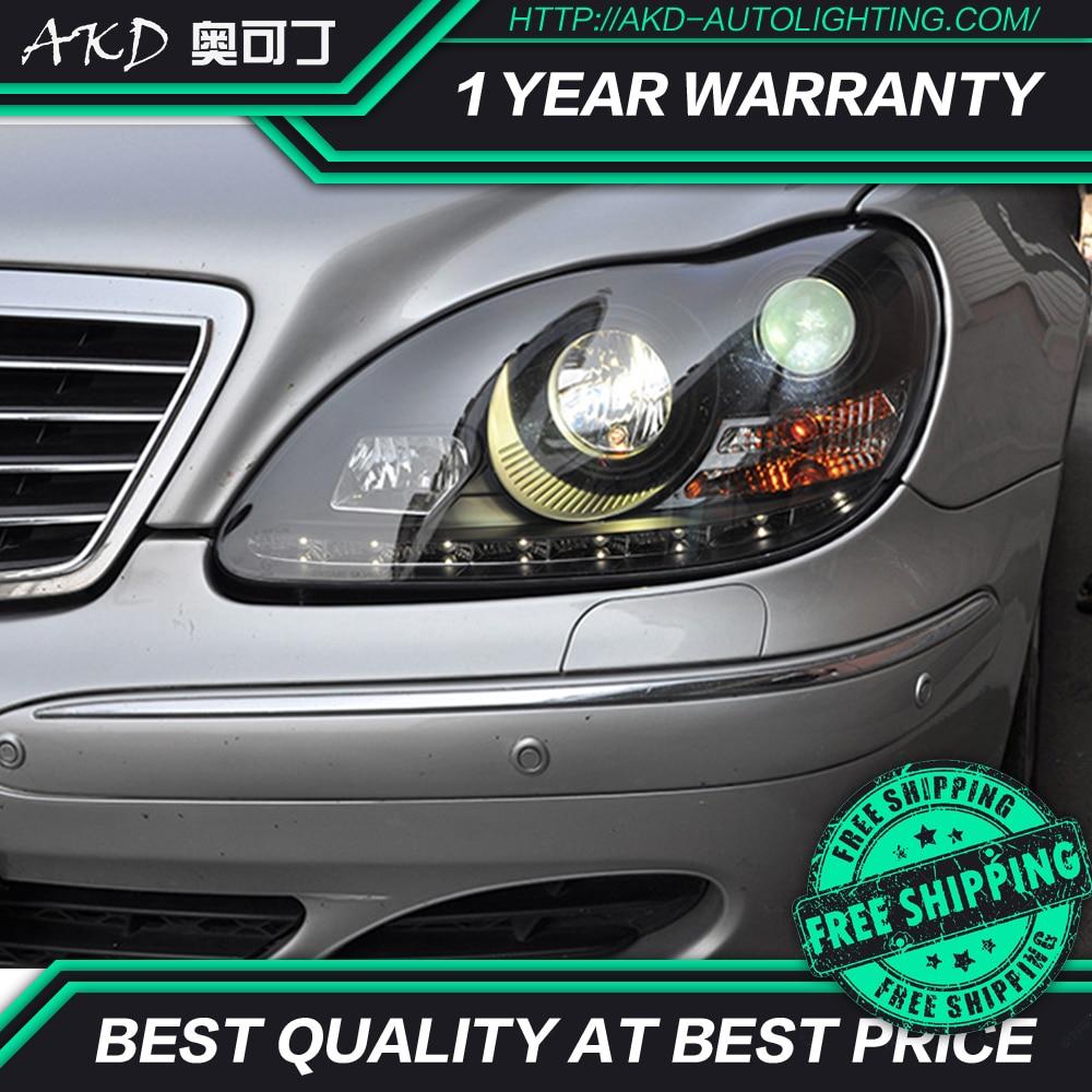 AKD voiture style lampe frontale pour BENZ W220 phares 1999-2005 S320 S350 phare LED DRL ange oeil caché Bi xénon Auto accessoires