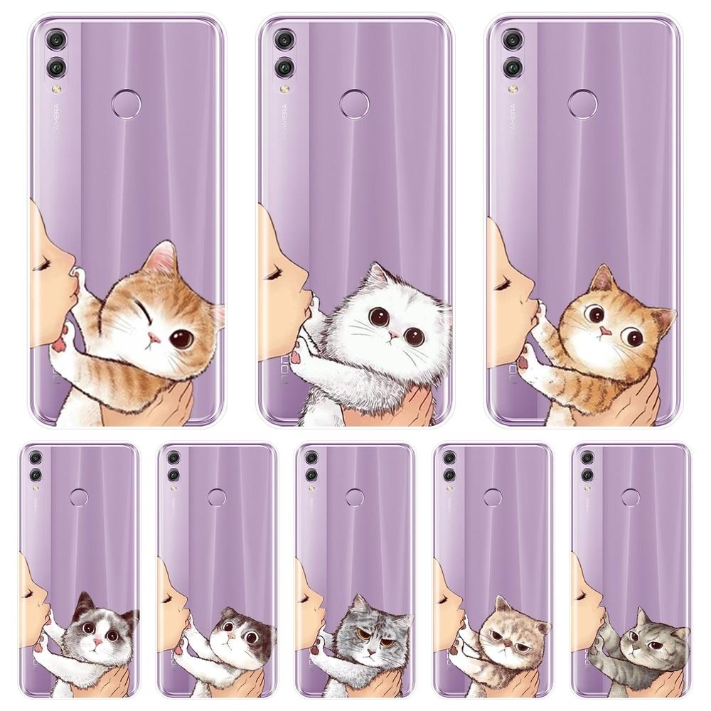 Funda de silicona para Huawei Honor 7 7S 7X 7A 7C Pro 10 9 8 8X MAX Kiss Cat, funda trasera para Huawei Honor 7 8 9 10 Lite