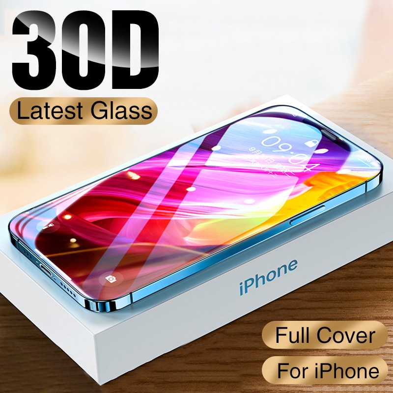 NEW 30D Full Cover Protective Glass For iPhone 12 11 Pro XS Max XR X Screen Protector On iPhone 11 1