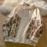 autumn american japanese fashion retro baseball uniform bear print lapel zipper jacket korean man loose patchwork couple jacket