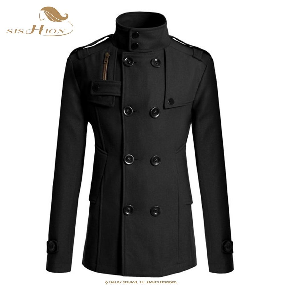 SISHION-معطف شتوي دافئ للرجال ، معطف غير رسمي نحيف QY0325 مع ياقة ماندرين صلبة مزدوجة الصدر ، 2019