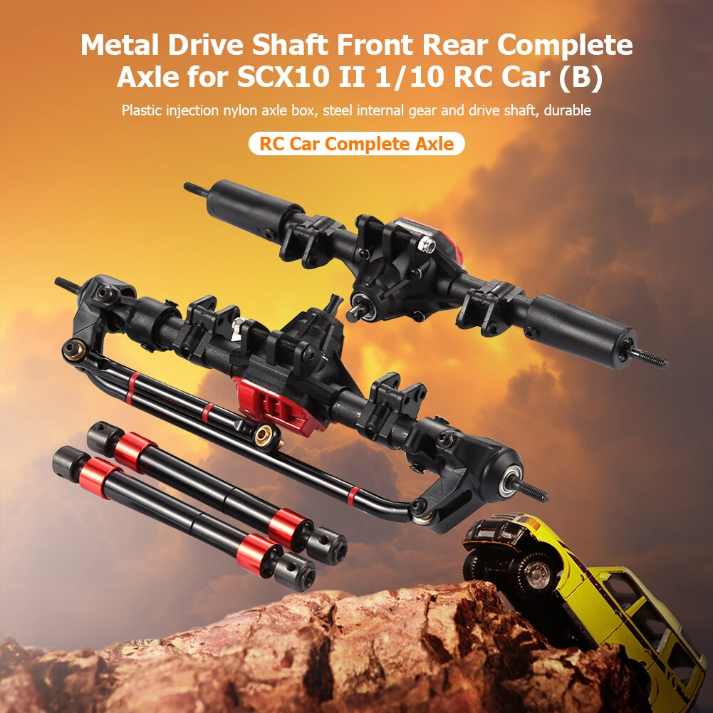 Metal Drive Shaft Front Rear Complete Axle 38T/15T Gear Tooth Metal Steel Shaft for SCX10 90046 90047 II 1/10 RC Car Accessories enlarge