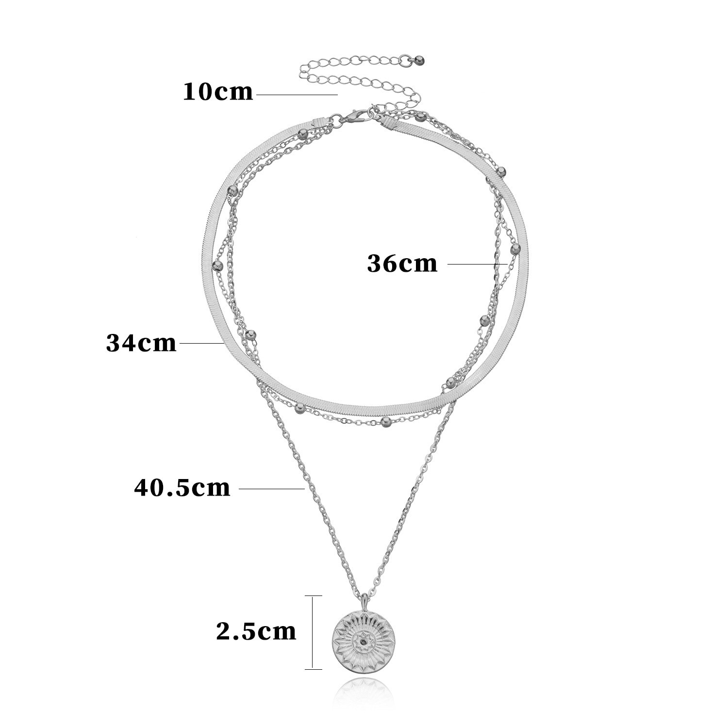 1 Set Fashionable Layered Round Hang Tag Chains Necklaces For Women Girls Trendy Classic Multi-layer Jewelry Gifts  - buy with discount