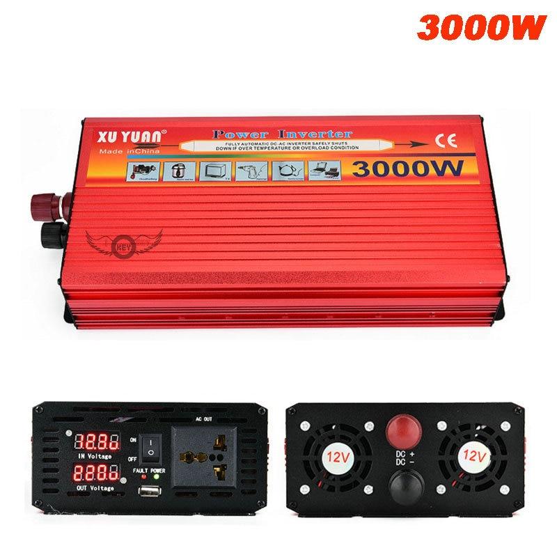 3000 Вт автомобильный инвертор постоянного тока 12 В/24 В в переменный ток 220 В светодиодный дисплей автомобильное зарядное устройство конвертер 12/24 вольт до 220 вольт