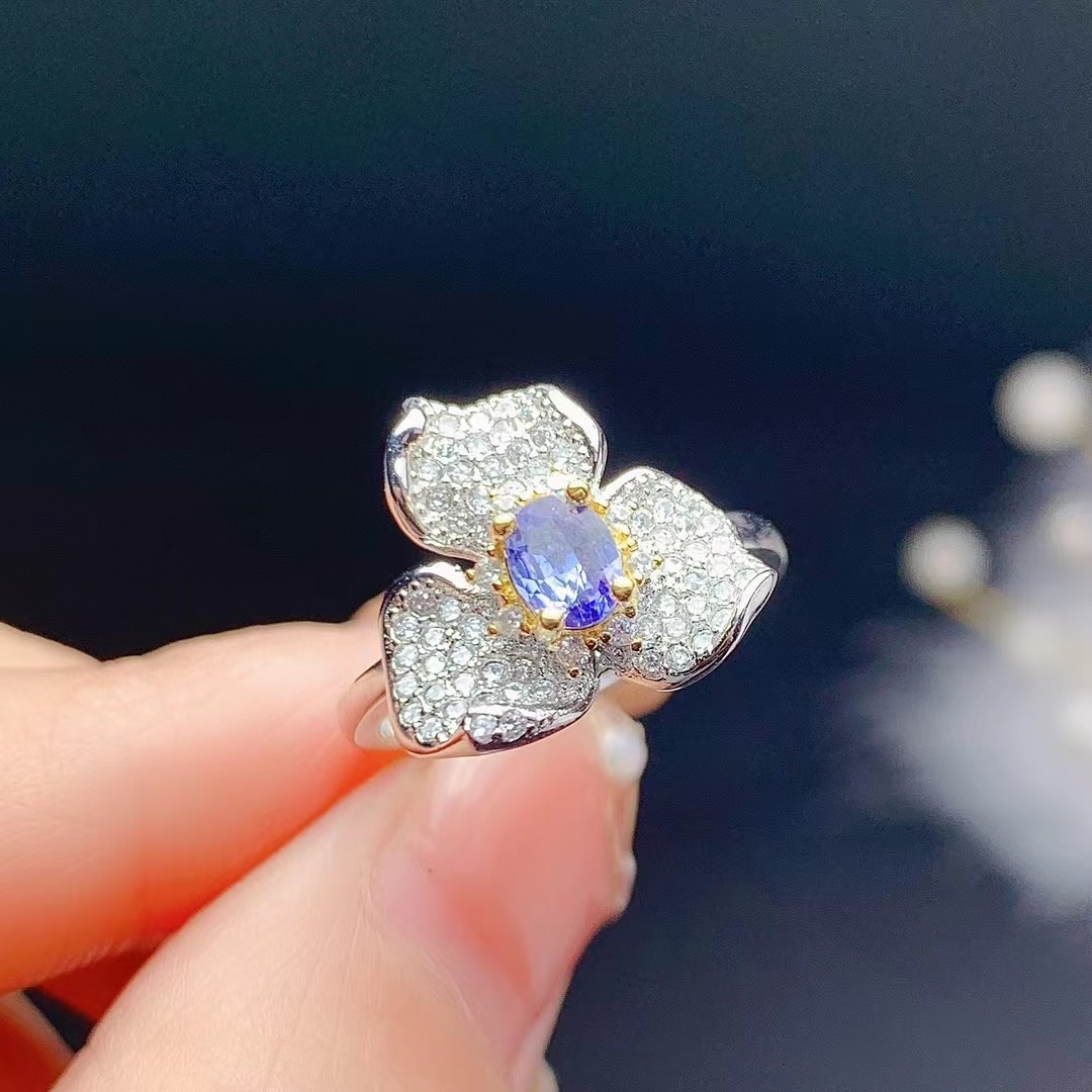 Design Style Tanzanite Silver Ring for Party 4mm*5mm Natural Tanzanite Ring 925 Silver Tanzanite Jewelry