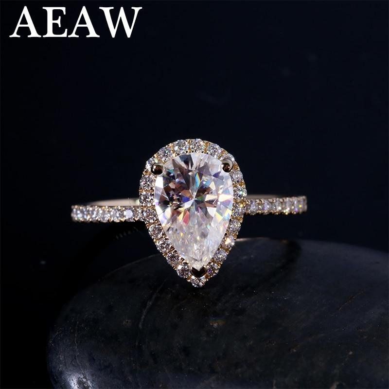 14K yellow Gold  Moissanite Ring 1.0ct Carat   Moissanite Engagement Ring for Women