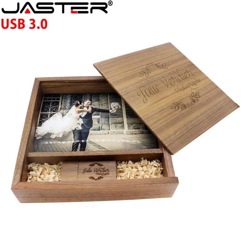 JASTER Freies Individuelles LOGO Foto Einzigartiges Album nussbaum Holz USB-stick USB + Box-Stick USB 3,0 8GB-64GB Fotografie 170*170*35mm