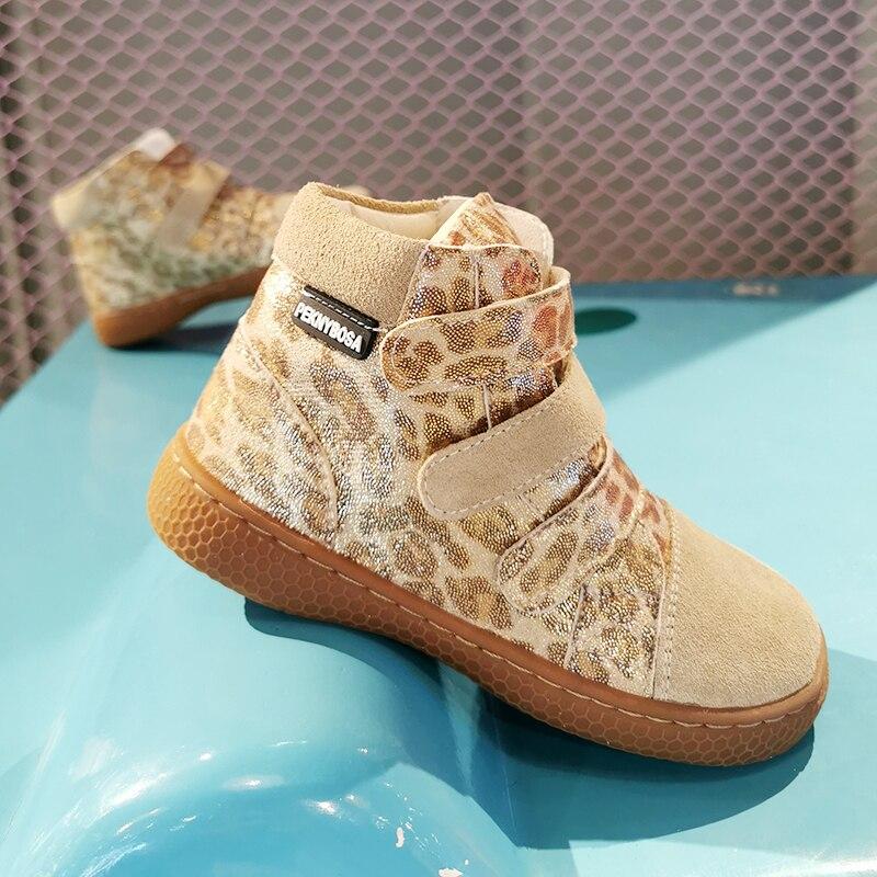 PEKNY BOSA ليوبارد أحذية أطفال أحذية لفتاة حذاء قصير لينة أسفل الأحذية الجلدية أصابع واسعة chid حافي القدمين أحذية لصبي