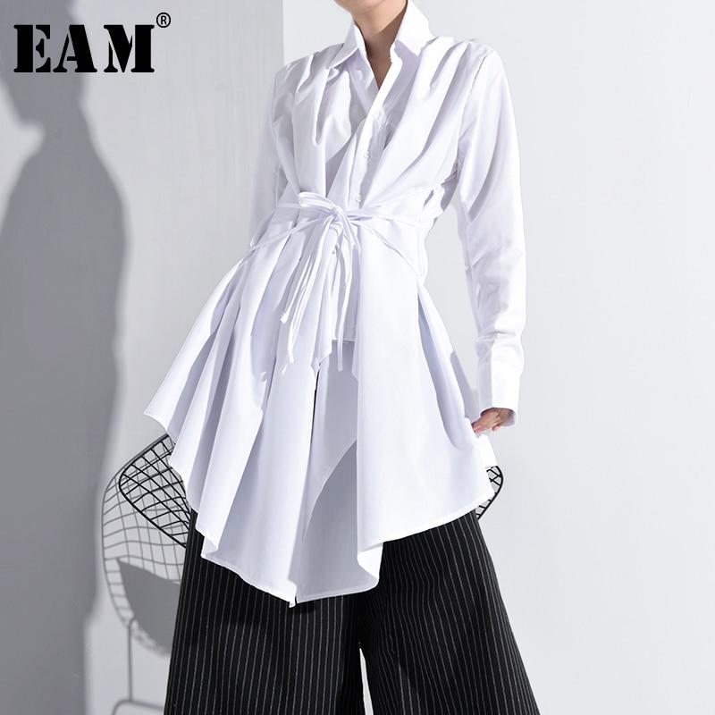 [Eam] blusa feminina branca assimétrica, camisa longa com gola, manga longa, solta, moderna, primavera e outono 2020 a536