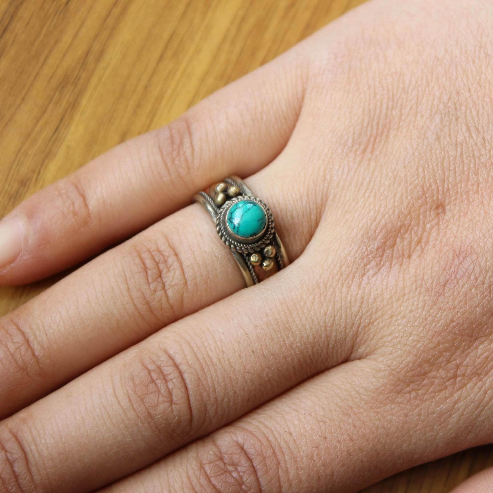 RG337, anillo étnico tibetano de cobre con incrustaciones de turquesas para mujer, joyería de Nepal, anillos ajustables Vintage de 8mm de ancho