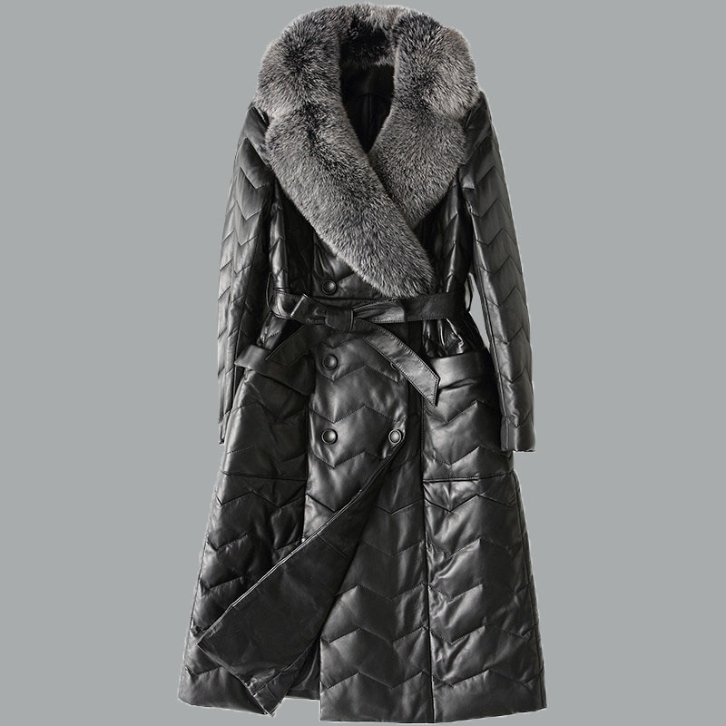 Autumn Down Jacket Women Parkas 2018 New High Quality Fashion Fox fur collar Matching Belt Winter Warm Sheepskin Outerwear NO505