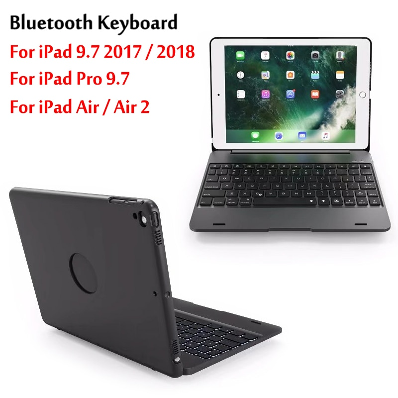 for ipad keyboard portable smart flip bluetooth 3 0 keyboard stand case cover for ipad 9 7 2018 9 7 2017 air2 air1 pro9 7 Top Flip Keyboard For iPad 9.7 2017 / 2018 5th 6th Gen wireless Bluetooth Keyboard Case For iPad Air / Air 2 /  Pro 9.7 Cover
