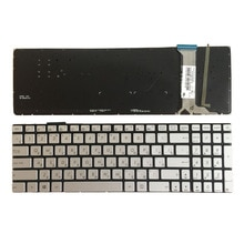 Nowy rosyjski klawiatura do ASUS N751 N751J N751JK N751JX z podświetleniem RU klawiaturze laptopa srebrny