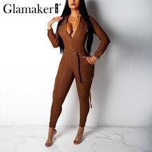 Glamaker Turndown collar jumpsuit Women long sleeve belt high waist elegant jumpsuit Female autumn winter party sexy jumpsuit