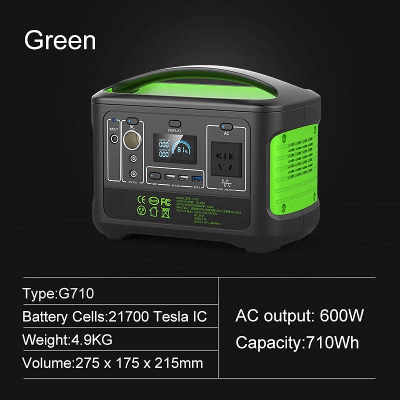 SUGINEO 110V Outdoor Energy Power Supply Charging Portable Power Station FlashFish Solar Generator 600W for Camping Emergency