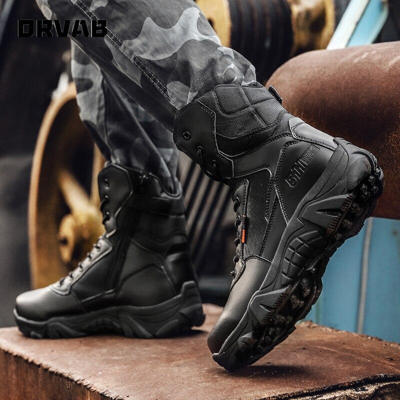 Bottes de Combat militaires en cuir pour hommes, de haute qualité, bottes tactiques d'infanterie, chaussures d'armée imperméables