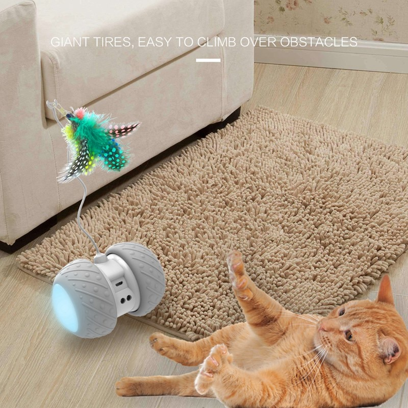 Electronic Pet Cat Toy Smart Automatic LED Wheel Rechargeable Flash Rolling Colorful Light Cat Stick
