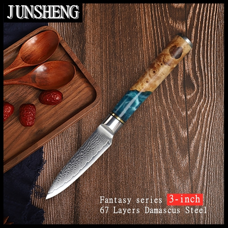 JUNSHNEG-سكين طاهي متعدد الوظائف ، شفرة دمشق من الراتنج ، أداة بمقبض خشبي ، 3 بوصات ، 67 طبقة
