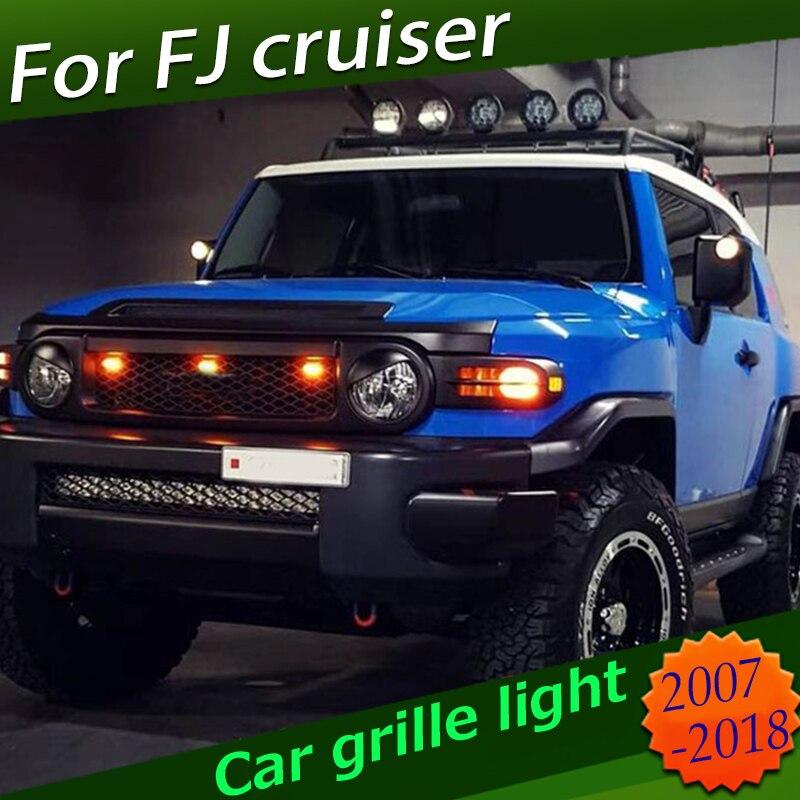 Para Toyota FJ Cruiser 2008 2018, rejilla delantera de coche, cubierta de luz LED amarilla, accesorios de luz para coche Diy