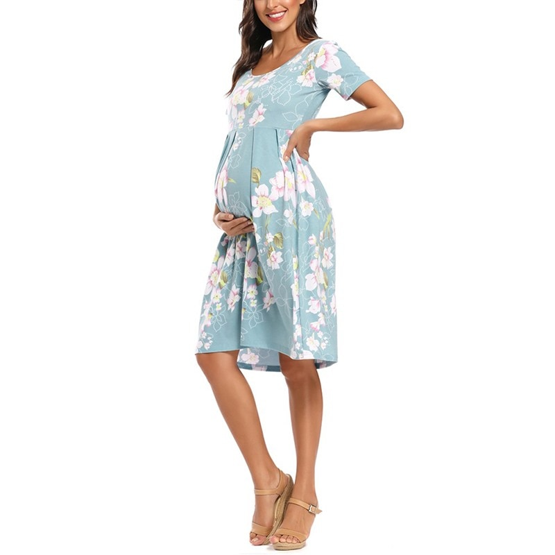 Women's Floral Short Sleeve Loose Maternity Dresses Pregnancy Clothes Summer Casual Soft Waist Pleated Print Knee Length Dress