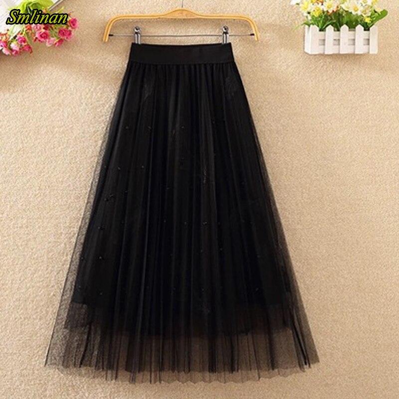 Smlinan 2020 Fahion Falda larga plisada de cintura alta Vintage Womem primavera otoño rebordear bordado de plumas faldas casuales Mujer
