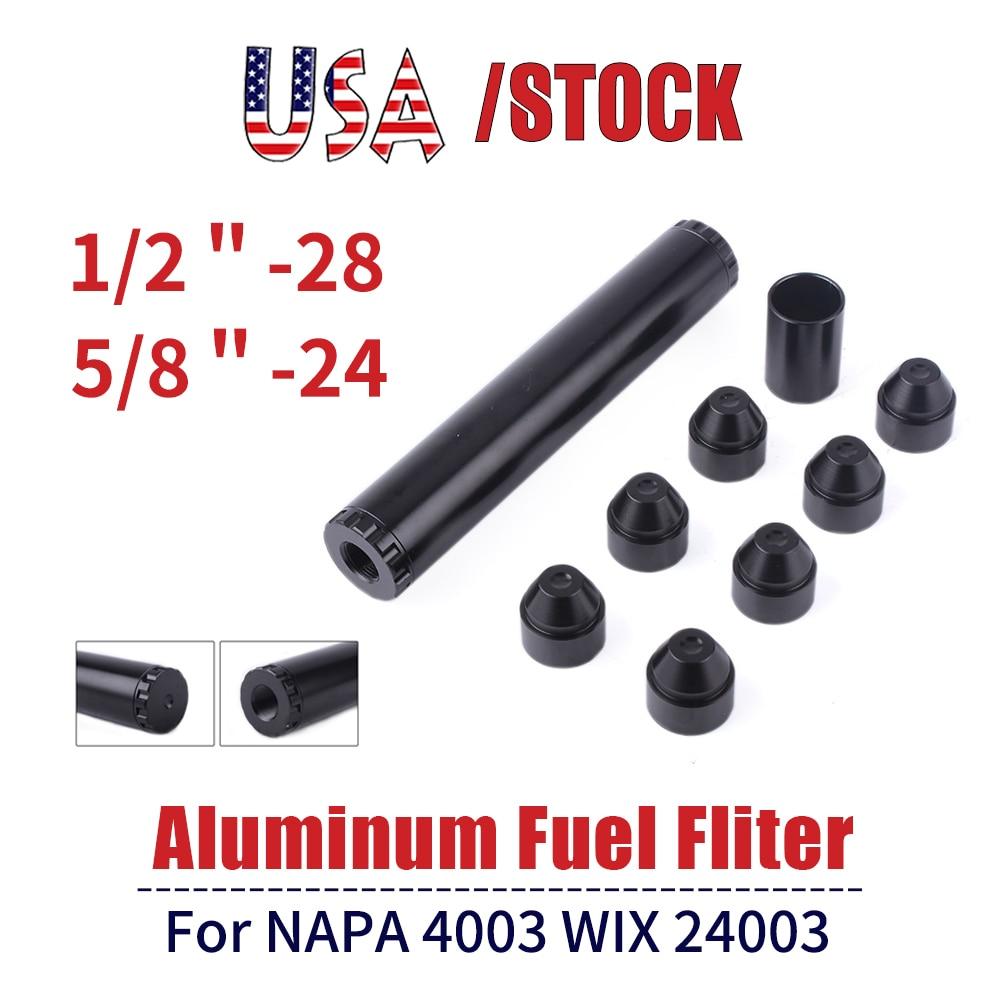 6/10 zoll Schwarz Auto Kraftstoff Filter Kraftstoff Falle 1/2-28 5/8-24 Automotive Fuel Filter 1X7 Lösungsmittel Falle für Napa 4003 Wix 24003 OFI017