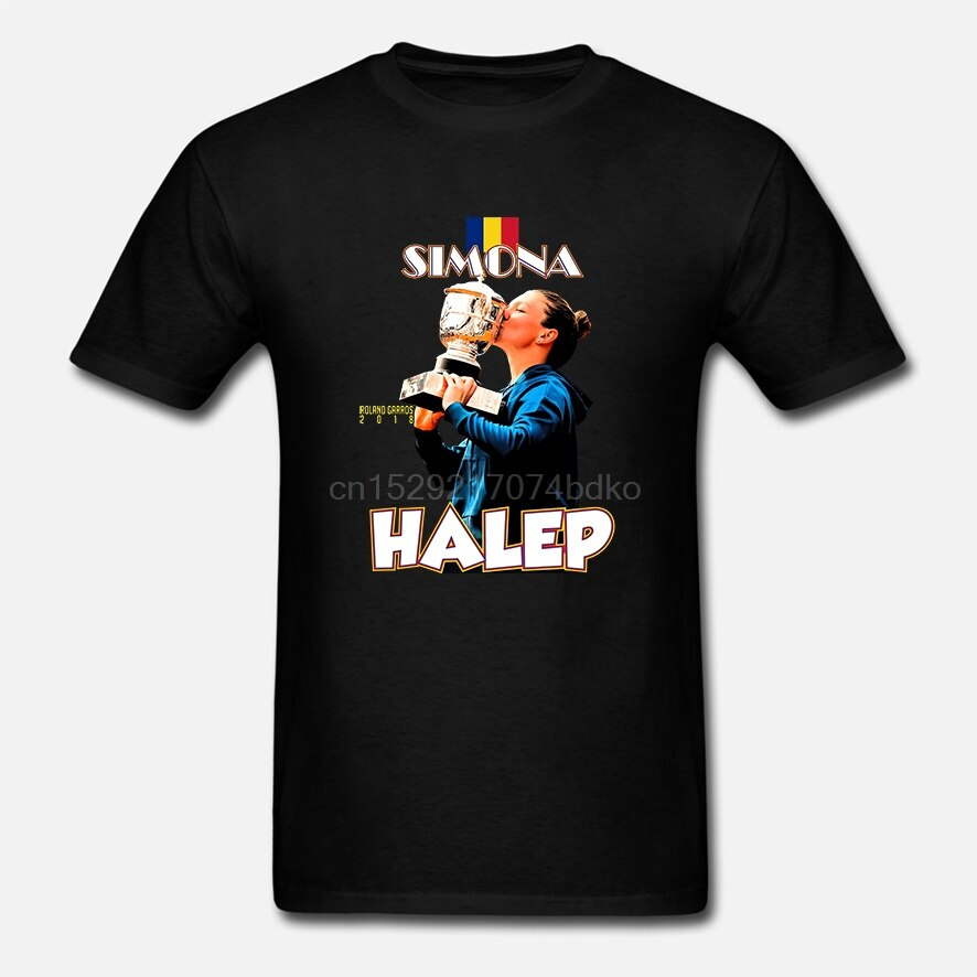 Camiseta de manga corta para hombre Simona Halep Romania camiseta de un cuello para mujer camiseta