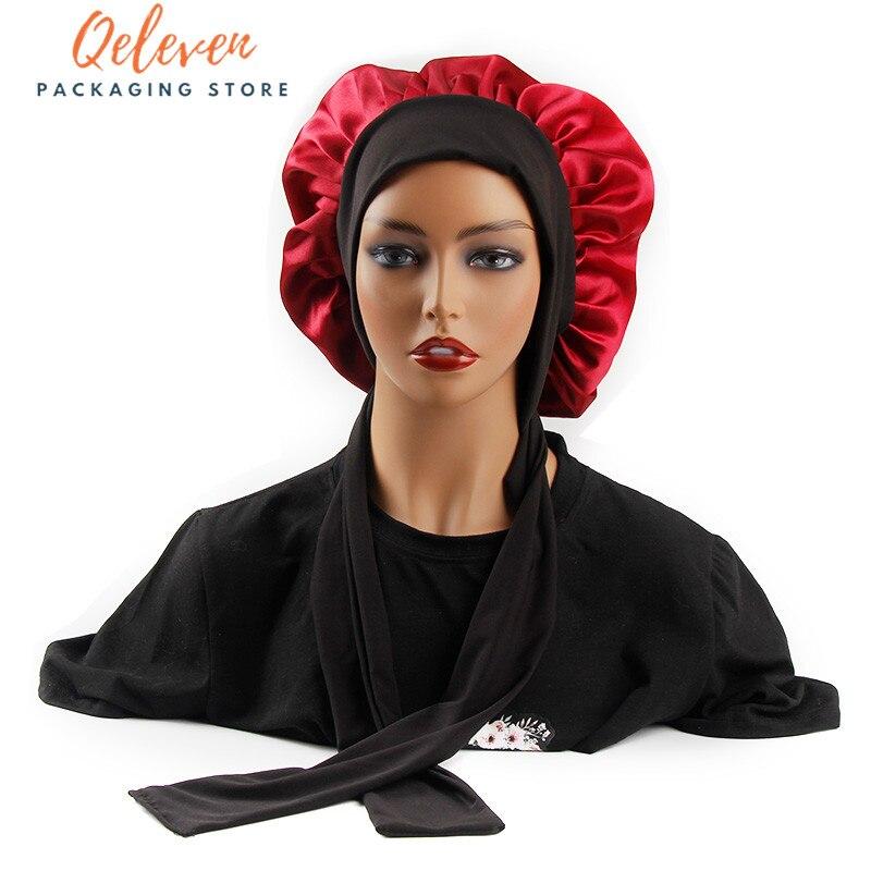 مخصص شعار النساء الشعر شعر مستعار الأغطية مع واسعة حافة التحكم التفاف الحرير رئيس الفرقة النوم بونيه