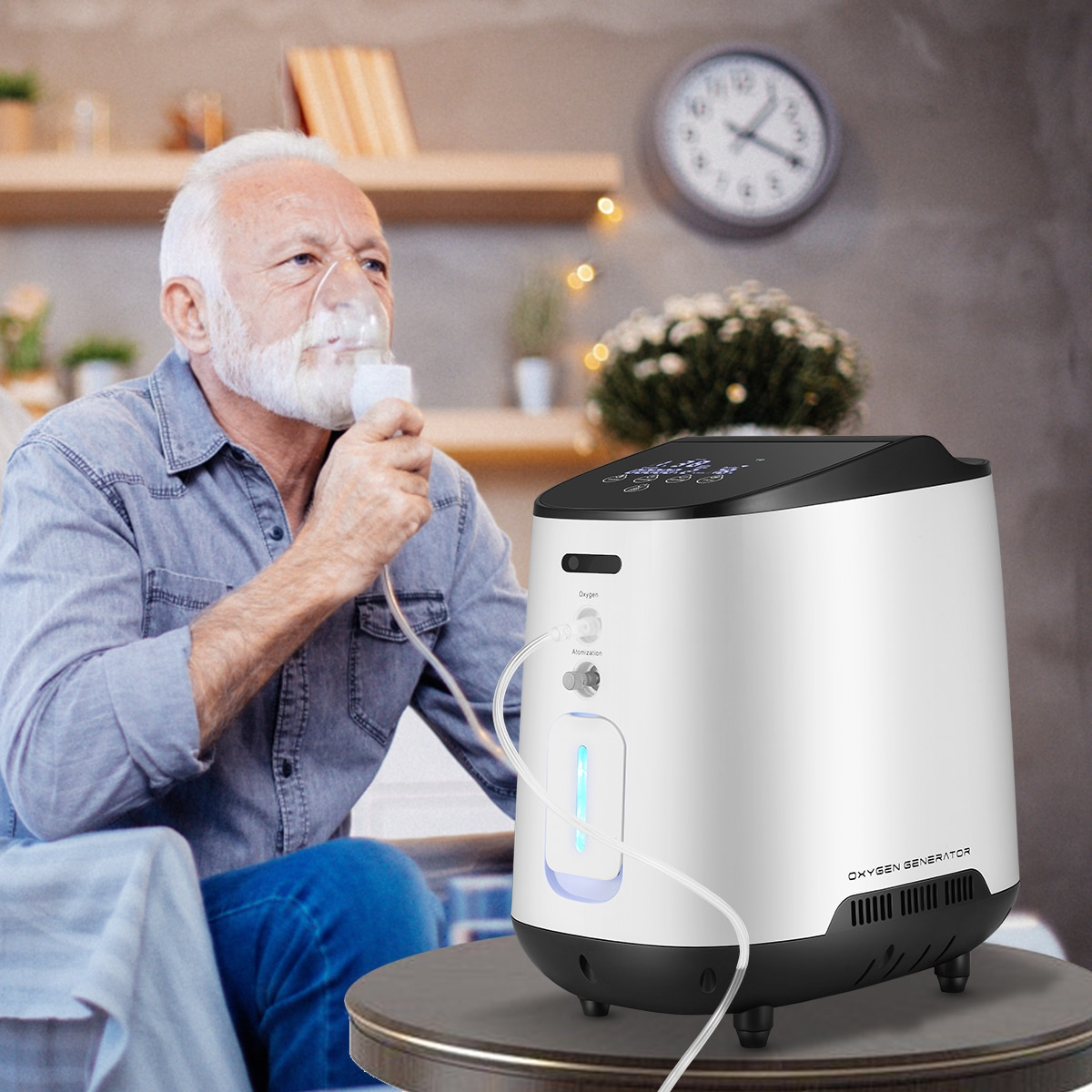 1 6l min portable oxygen concentrator home travel use generator no battery air purifier for home with handle 24 hours working AUPORO Portable Oxygen Concentrator Oxygen Generator 1-7L Oxygen Making Machine Without Battery Home Travel Use For Eldery