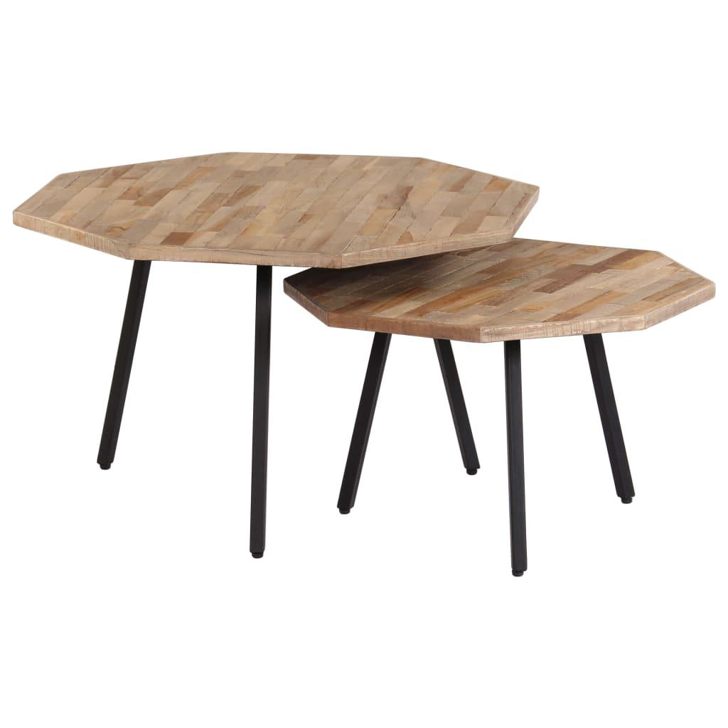 Juego de mesa de centro vidaXL de 2 piezas de teca regenerado hexagonal