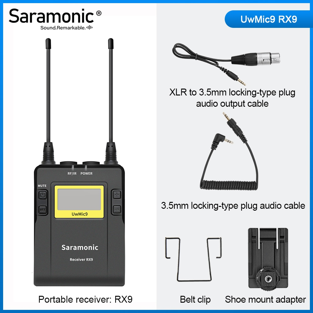 Saramonic UwMic9 Broadcast UHF Wireless Microphone System Receivers and XLR Transmitter for Camera & Camcorder & smart phone xtuga wireless lavalier microphone professional uhf camera microphone with 30 selectable channels for slr camera dv camcorder