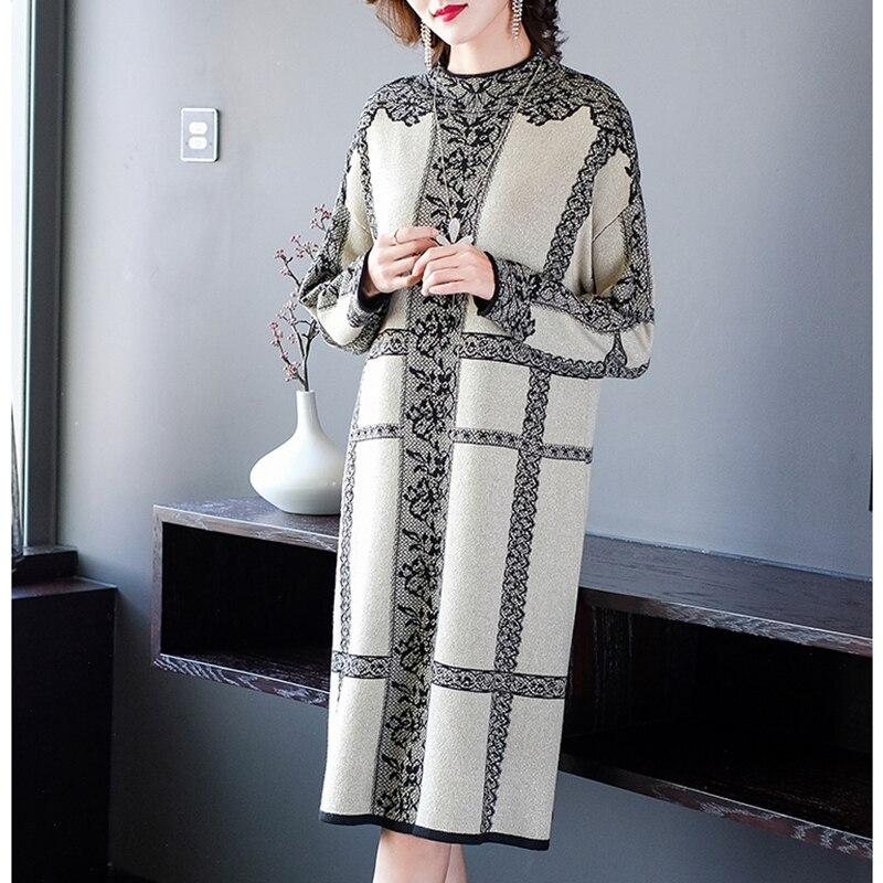 Robe pull mi-longue à manches longues pour femmes, Vintage, décontracté, Floral, grande taille, élégante, moulante, soirée, automne hiver, 2021