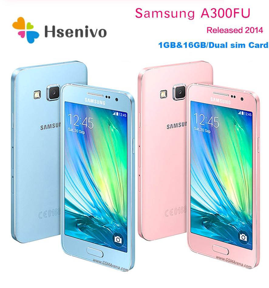Мобильный телефон Samsung A3, Восстановленный, Galaxy A3 A3000 A300F, четырехъядерный, Android 4,5, 8 ГБ/16 Гб ПЗУ, 1 ГБ ОЗУ, 4G, камера 8 МП