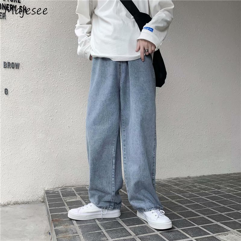 Men Jeans Solid Drawstring Denim Full Length Straight Loose Males All-match Trendy Punk Baggy Retro
